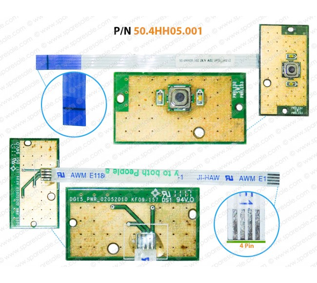 Power Button For Dell Inspiron 15R-N5010, 15R-M5010, 50.4HH05.001