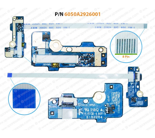 Power Button For HP 840-G5, 845-G5, 740-G5, 745-G5, 6050A2926001