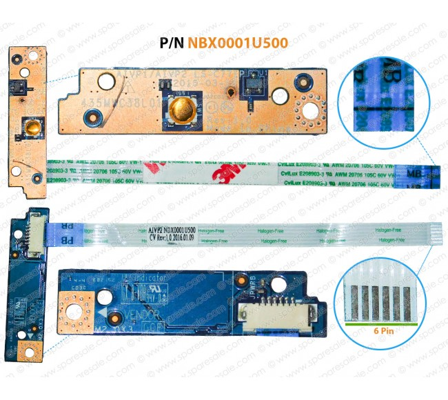 Power Button For Lenovo IdeaPad 100-14IBD, 100-15IBY, LS-C771P, NBX0001U500