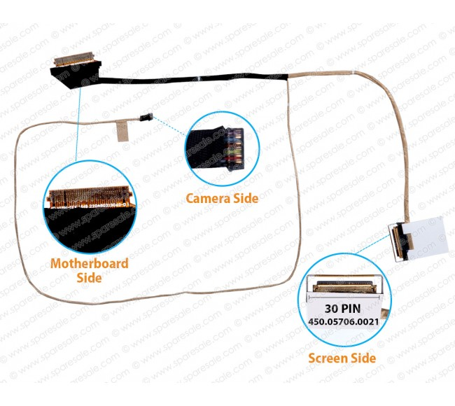 Display Cable For DELL LATITUDE 3460, 3470, P63G ( Non-Touch Screen Cable )
