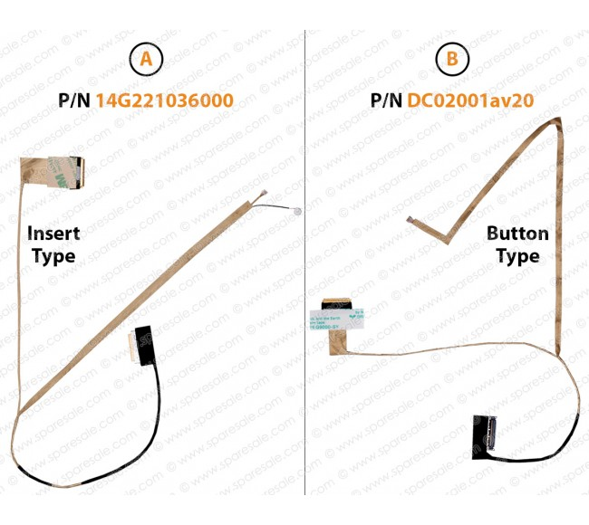 Display Cable For ASUS X53S, X53SF, X53E, K53, K53T, K53U, X53, X53U, K53Z, A53B, A53, A53U, A53E, A53S, X53SJ, X53SV, K53S, K53SD, K53SV, K53E, X43B, X43T, X43U, K43U, K43TK, K43BY, X44H, P53, P43, PBL50