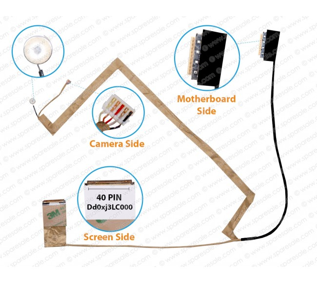 Display Cable For ASUS K55, K55A, K55V, K55VM, X55U, X55A, X55C, X55VD, A55, R500V, DD0XJ3LC000, DD0KJBCM000, 14006-00050200, 14006-00050100, 14006-00050000, DD0XJ3LC000, DD0XJ3LC010, 14006-00050400 ( Screen Side 40 Pin )