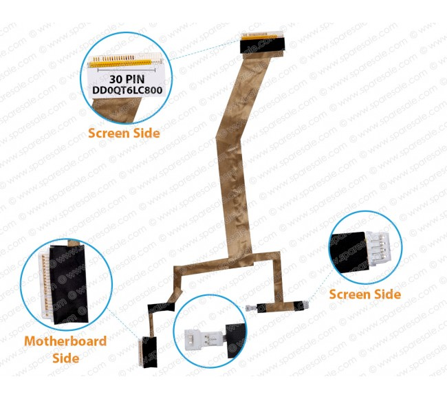 Display Cable For HP Pavilion dv5-1000, dv5-1100, DD0QT6LC800