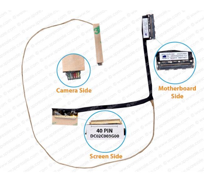 Display Cable For HP SleekBook ENVY6-1000,ENVY6-1006SA, QAU50, DC02C003G00
