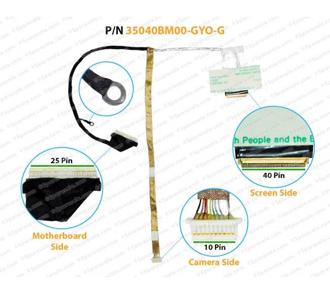 Display Cable For HP ProBook 6560B, 6565B, 6570B, 6575B, 35040BM00-GYO-G, 35040BQ00-GYO-G, 35040BP00-GYO-G, 350407U0C-H0B-G, 350404R00-G62-G, 35040AW00-H0B-G