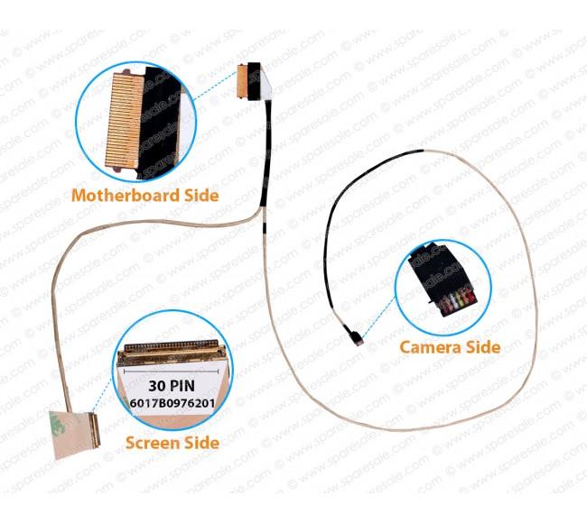 Display Cable For HP Notebook 14-CK, 14Q-CS, 14-CM, 240-G7, 246-G7, 6017B0976301, 6017B0976201 30 Pin